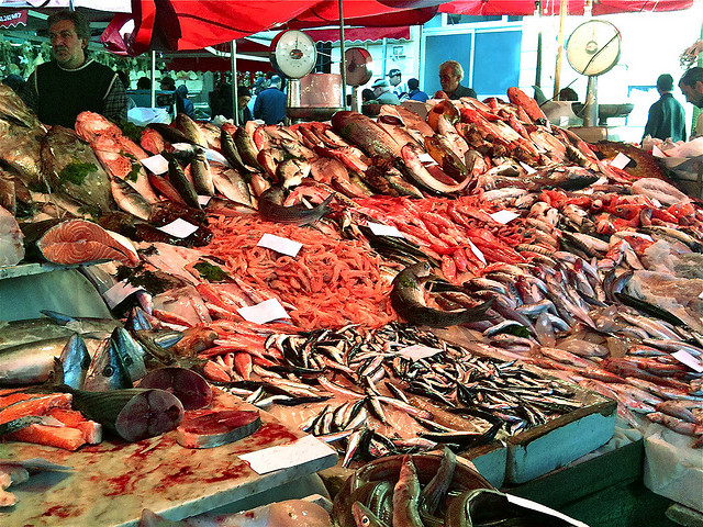 Traditional fish market in Catania (Sicily)