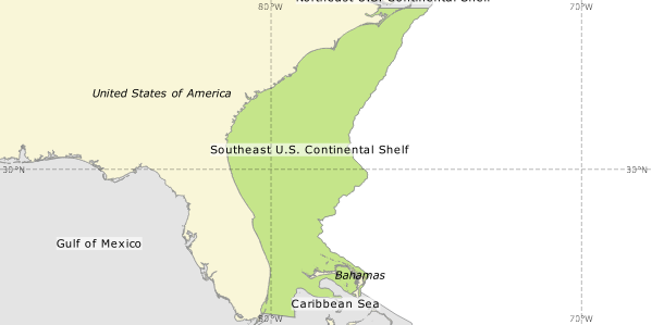 Southeast US Continental Shelf One Shared Ocean - Us continental map
